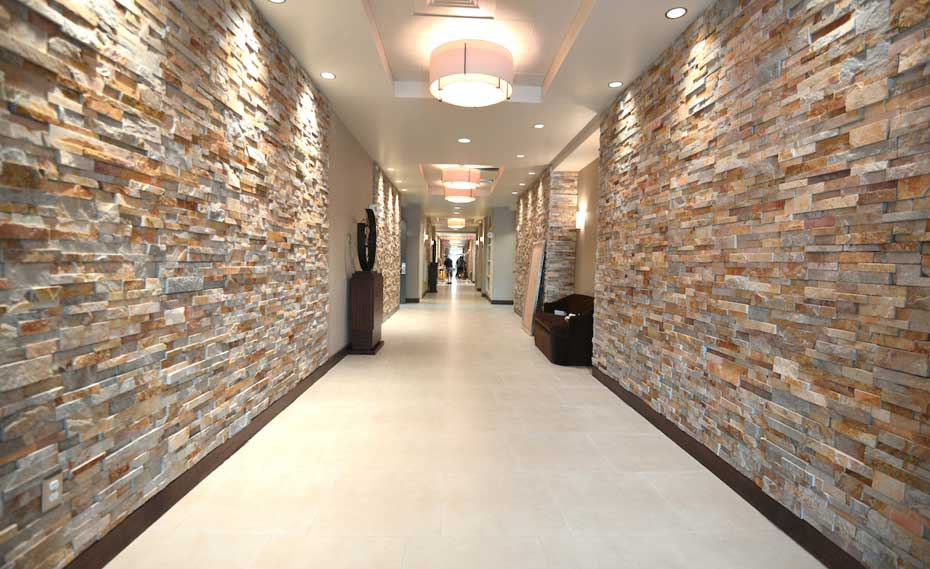 With natural stones in the interior and exterior, visually beautify and perfect design